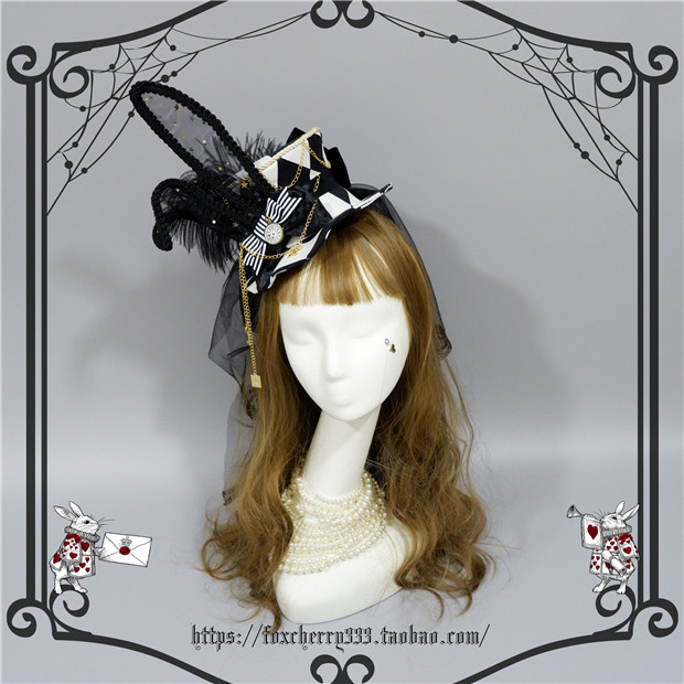 Foxcherry Alice Clock Rabbit Ear Hat