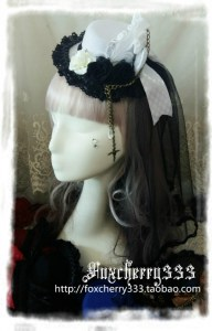 Foxcherry Lolita Victorian Retro Flowers Cross Bows Bowl Gothic Little Sweets White