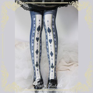 Ruby Rabbit Alice Poker Tights Dark Blue