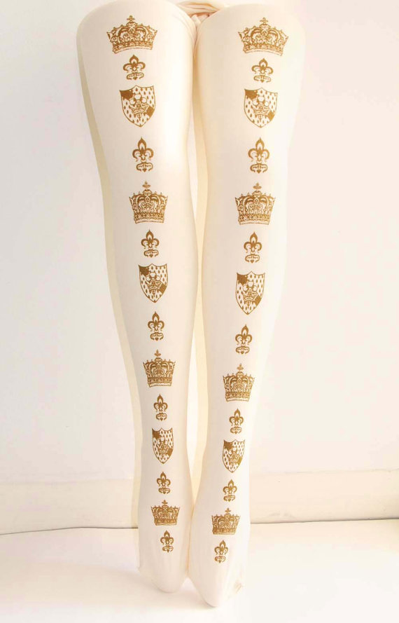 Teja Jamilla Gold Crown Tights Ivory