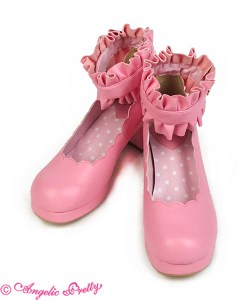 Angelic Pretty Scallop Ruffled Shoes Size L Pink