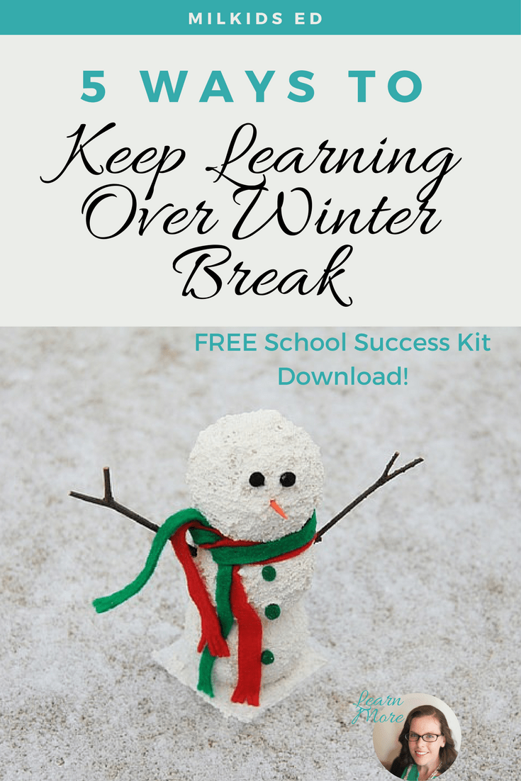 Keep winter boredom away with 5 super easy ways to make learning fun. You already have everything you need at home, too! | Meg Flanagan, MilKids Ed | Make the K-12 Journey Easier | Get FREE parenting resources: http://eepurl.com/c1i809
