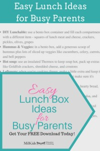 Grab a 4 page mini-guide with 25 easy lunch box ideas for busy parents PLUS a free weekly school food planner!