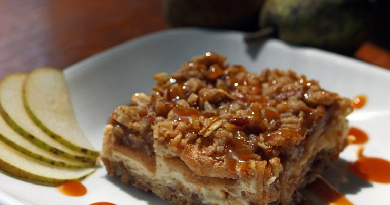 Pear Cobbler Cheesecake Bars