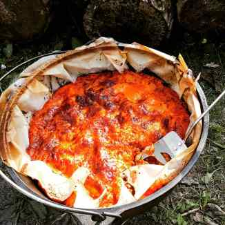 Campfire Lasagna in Cast Iron Dutch Oven