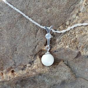 CZ Diamond Drop Breast Milk Pearl Pendant - Milk Vine Jewelry