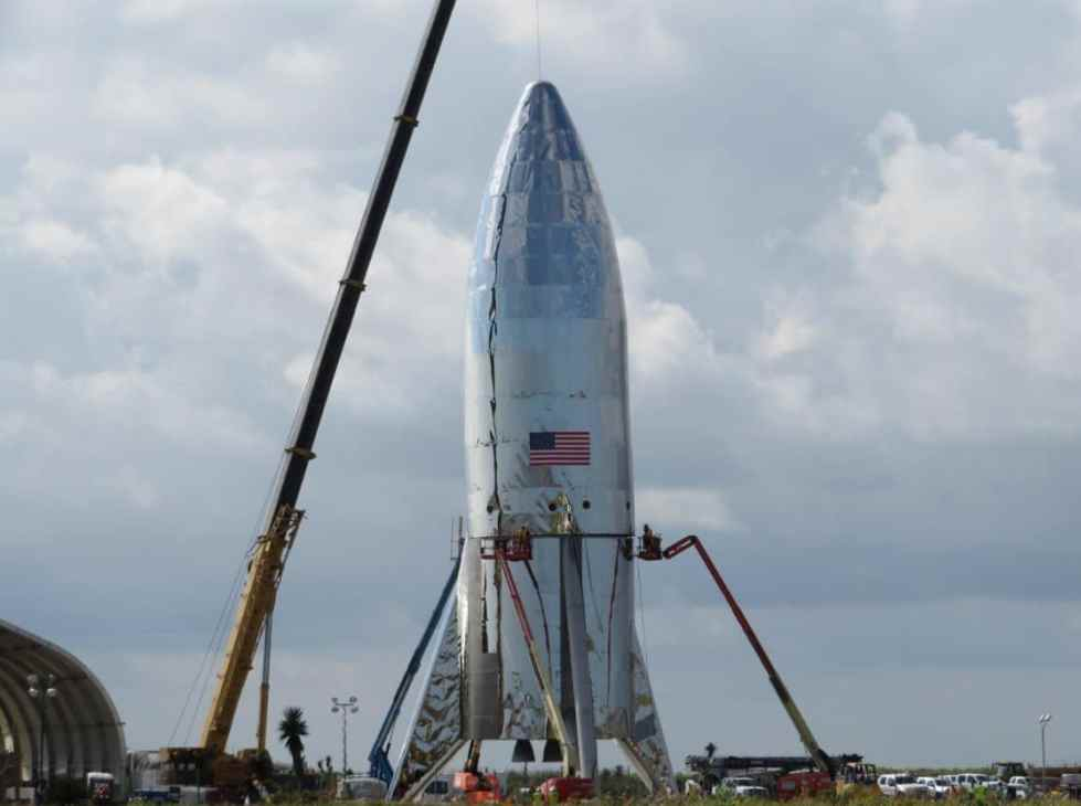 SpaceX's Starship being constructed at Boca Chica in Texas.