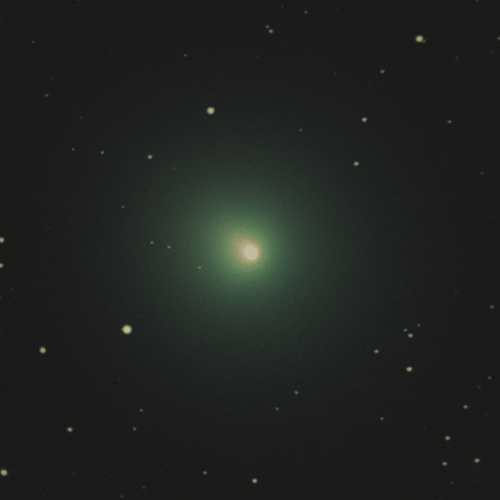 Comet Wirtanen imaged using a 130P-DS Newtonian telescope on a guided HEQ5 mount and an astro modified and cooled Canon 450D. 45 two-minute images stacked using deep sky stacked to stack comet and stars separately before recombination topo remove blurring.