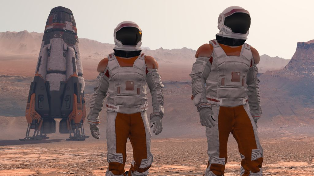 Astronaut Wearing Space Suit Walking On The Surface Of Mars. Exploring Mission To Mars. Futuristic Colonization and Space Exploration Concept. 3d rendering