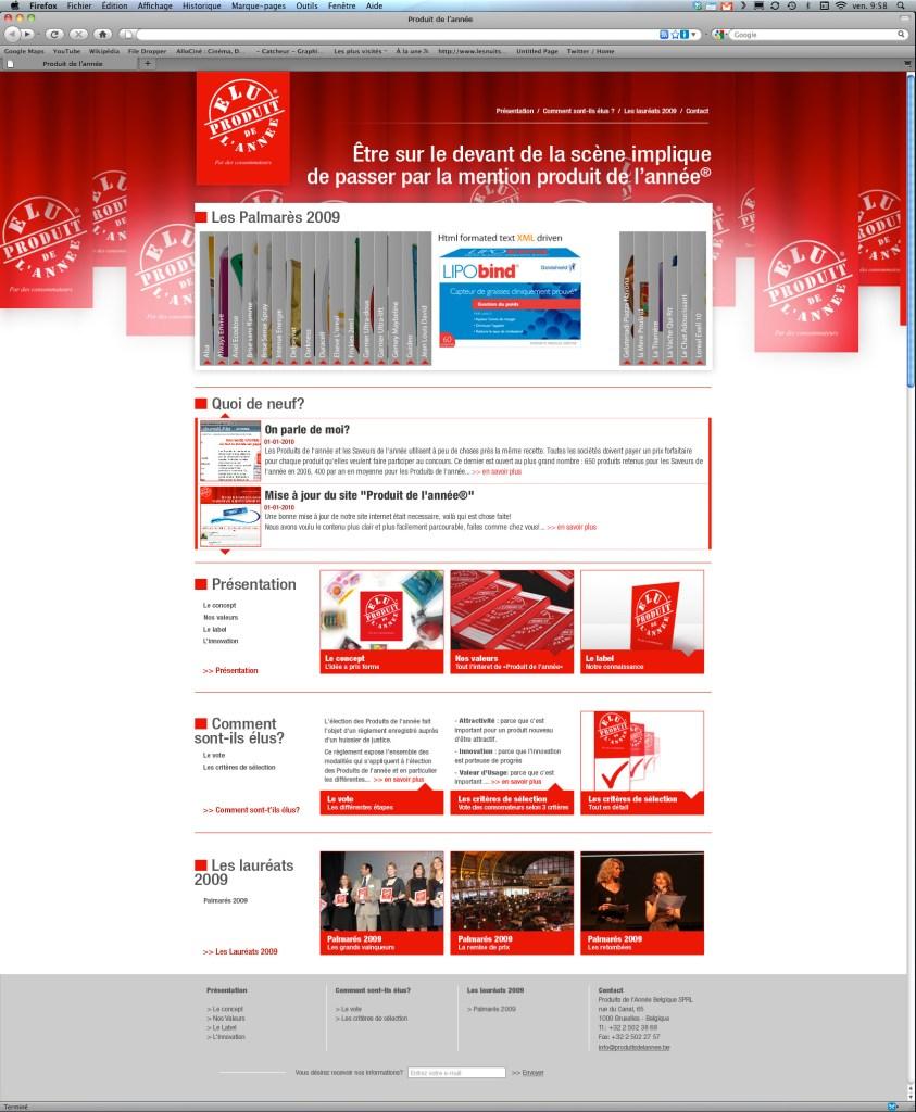 Produits de l'année : création des sites web internationaux