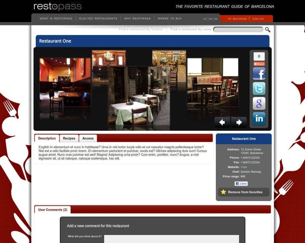 Restopass essai page restaurant