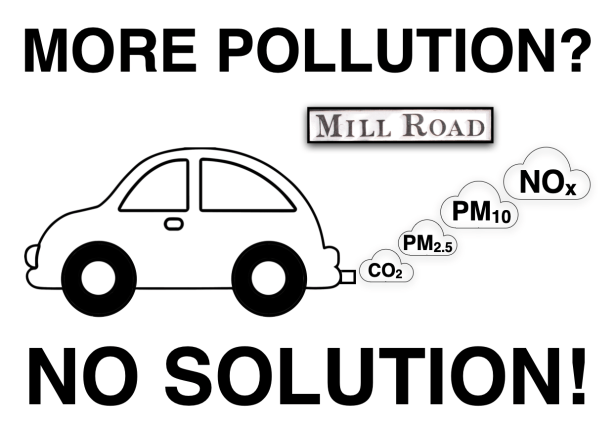 "Image of car pumping out carbon dioxide, particulate pollution and oxides of nitrogen, with slogan ""More pollution? No solution!"""
