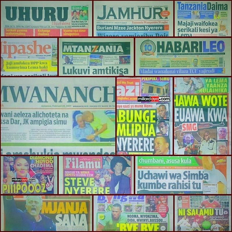 Magazeti ya Tanzania February 28, 2017 kuanzia, Udaku, Hardnews na michezo