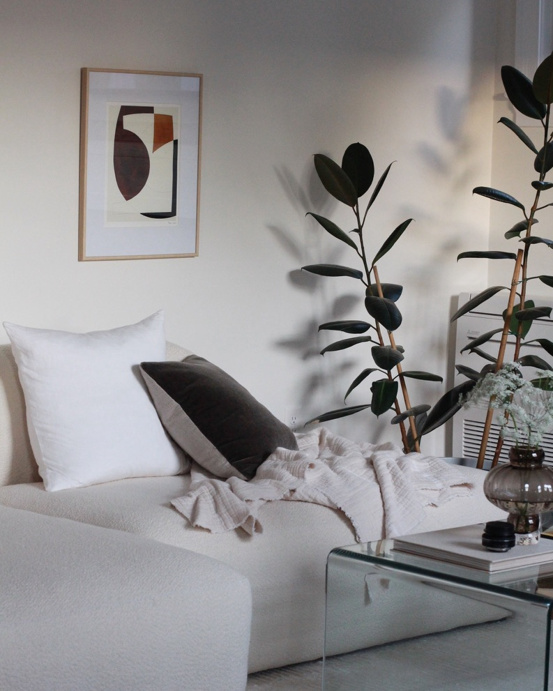 Scandinavian Living Room with Modern Art above sofa - Millay Studio
