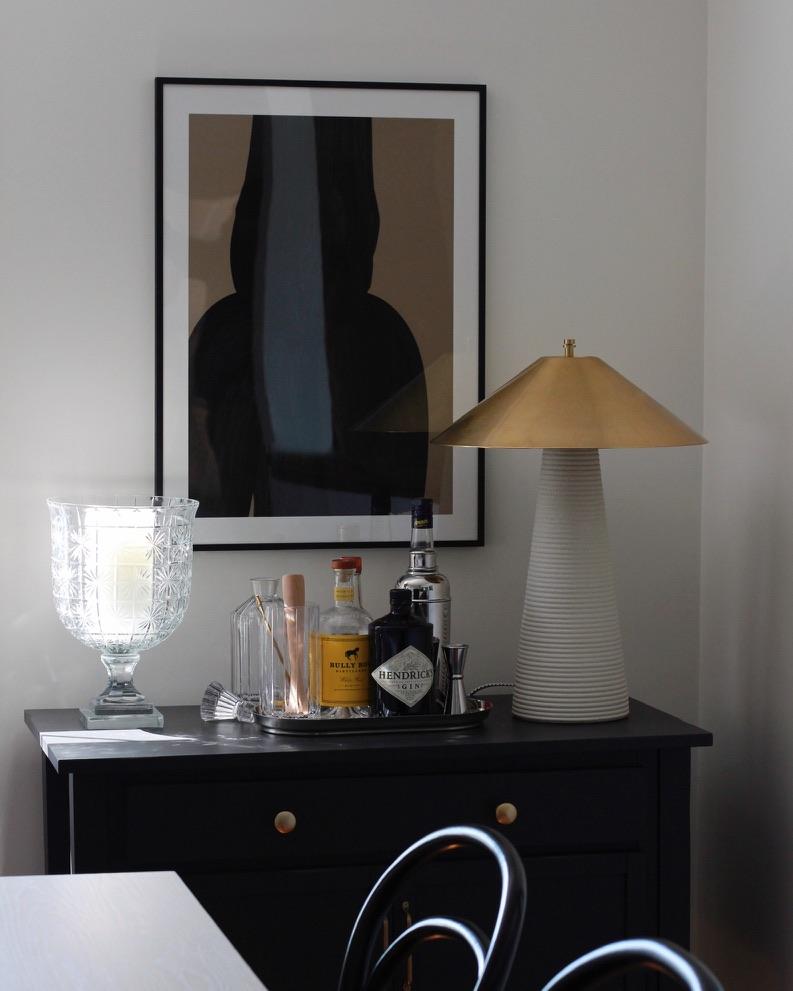 minimalist art over bar cart - millay studio