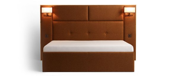 Upholstered headboard & matching bed base