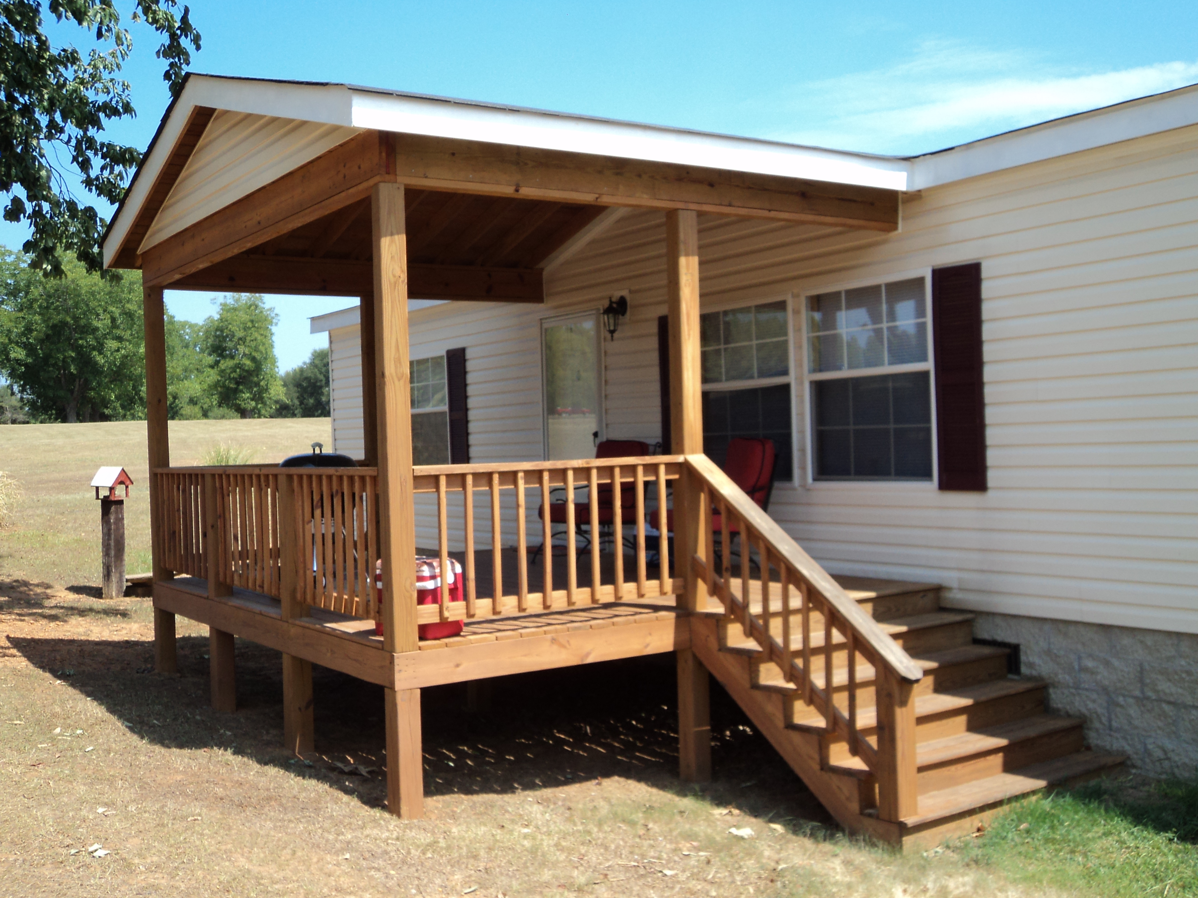 Deck with a vaulted roof | Milledgeville Home Maintenance on Deck Over Patio Ideas id=30910