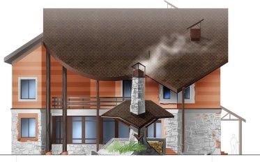 Уютный загородный дом. Эскиз фасада