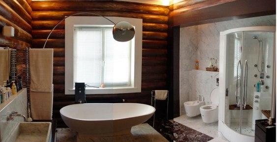 Дерево и мрамор. Дизайн ванной комнаты