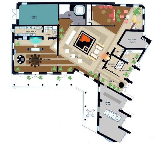 Проект загородного дома. План 1 этажа