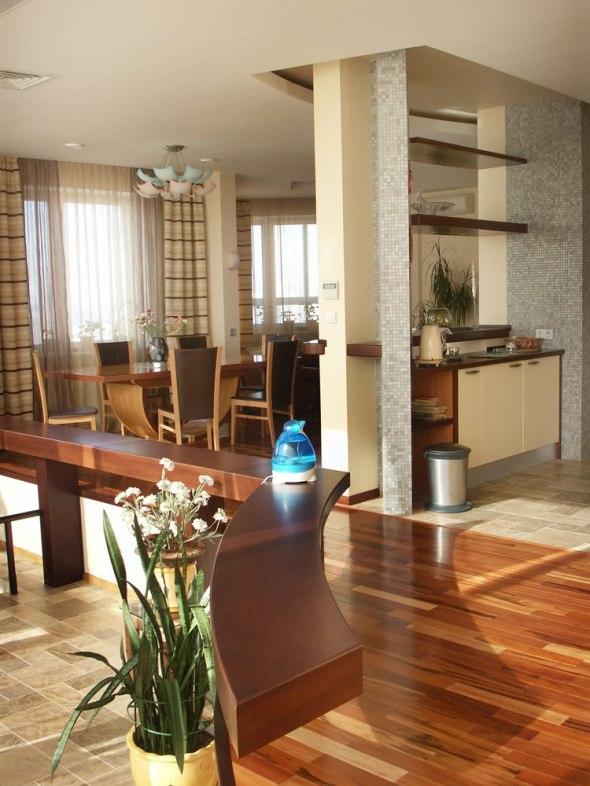 Дизайн интерьера квартиры в пентхаусе. Кухня и столовая