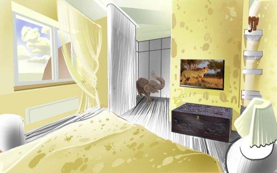Дизайн интерьера пентхауса. Эскиз спальни