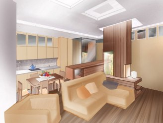 Дизайн интерьера квартиры. Эскиз