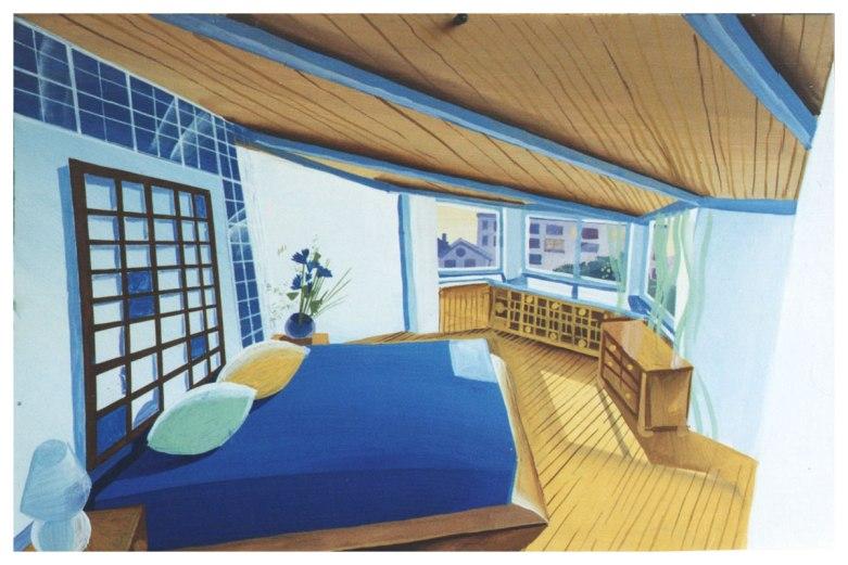 Дизайн квартиры в мансарде. Эскиз спальни