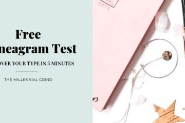 Free Enneagram Test; pink notebook pens and stars