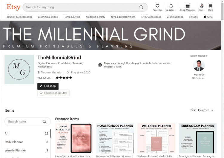 The Millennial Grind Etsy Store for Printable Planners