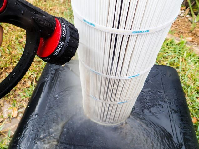 After leaving the filters submerged (overnight is best), rinse it off to get any loosened dirt out.
