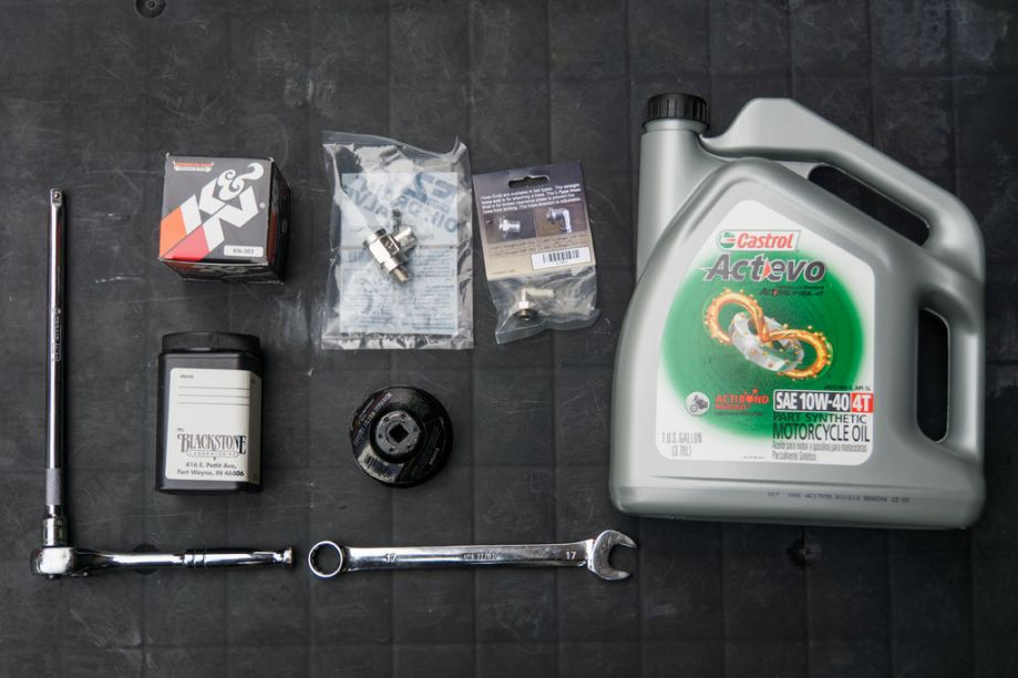 For this motorcycle oil change how-to for the 2017 Kawasaki Ninja 650, these are the things we'll be using.