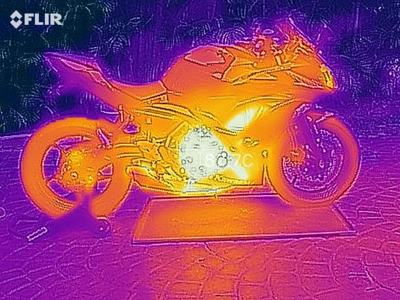 Heat the bike up prior to starting for the most effective motorcycle oil change. This neat picture was taken with a FLIR thermal camera.