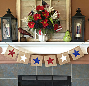 Burlap Glitter Star Banner | Patriotic Garland | Mantle Decor | Summer decoration | 4th of July | Memorial Day | American Home Decor