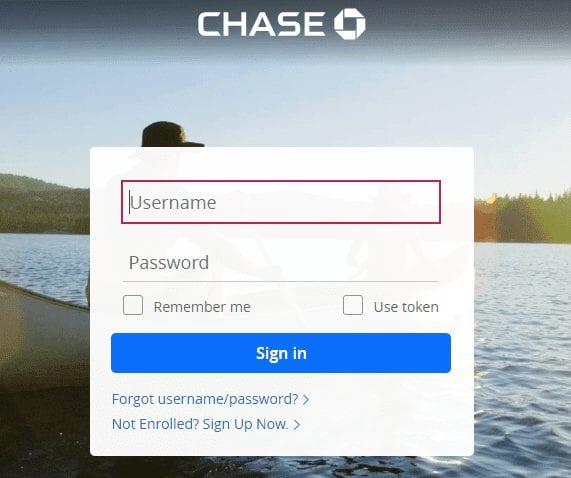Chase Bank Online Access Snapshot