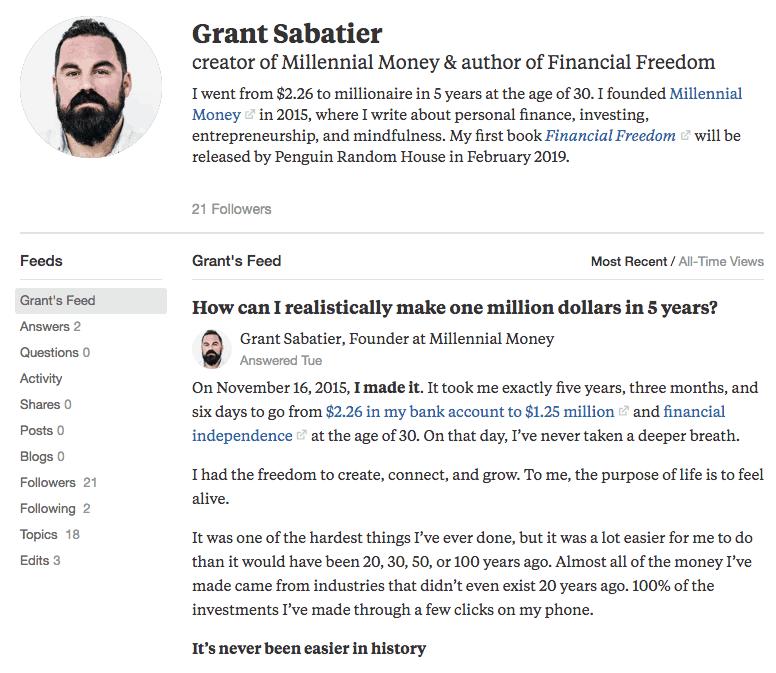 Grant Sabatier Quora Profile