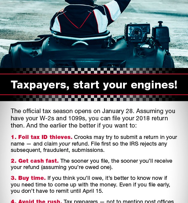 Taxpayers, start your engines!
