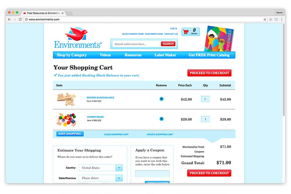 Environments.com cart page