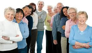 group of senior adults smiling