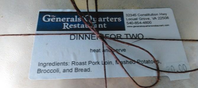 Generals' Quarters Restaurant meals to go and Miller Farms Market.