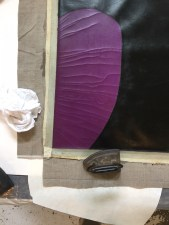 Heat and pressure with Beva allows us to stabilize the cracks in the Colbalt Violet area