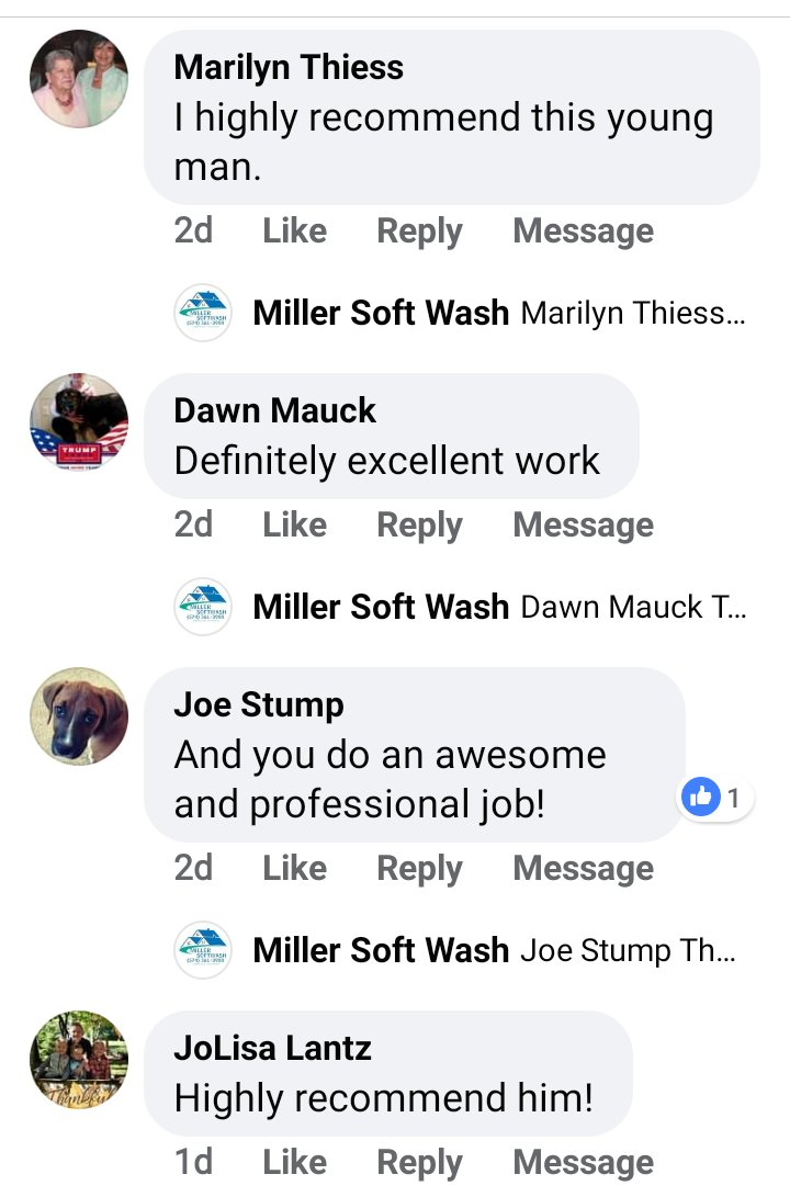 Facebook  comments of customers loving our pressure washing