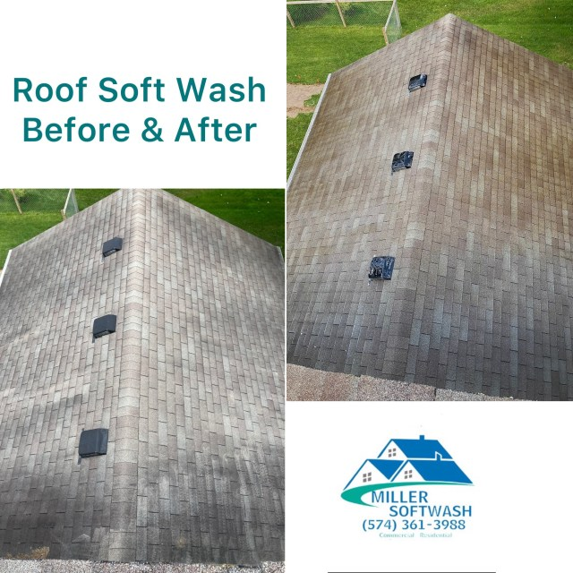Roof Soft Wash Before and After picture