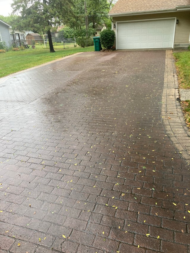 Driveway Pressure washing done in White Pigeon MI This is the before picture
