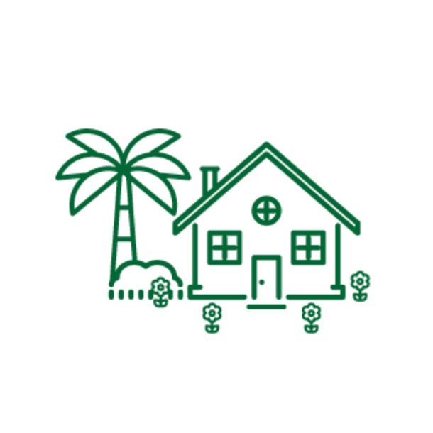 Drawing of a green house with a palm tree and flowers