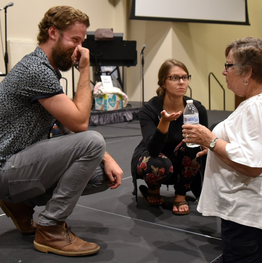 Photo of Sean & Mrs Something talking with a guest after the 2018 Benefit Concert