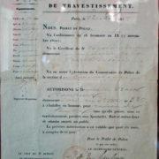 Permission de travestissement délivrée par la préfecture de Police (1857)