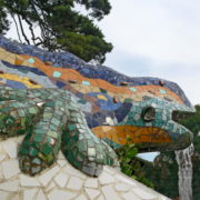 Barcelone, Parc Guell, Fontaine salamandre multicolore