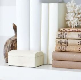 White interiors - www.myLusciousLife.com via www.styleathome.com books stacked