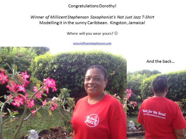Dorothy Not Just Jazz T-Shirt winner 2017 Millicent Stephenson Saxophonist